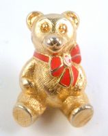 Vintage Trifari Teddy Bear And Red Bow Brooch.